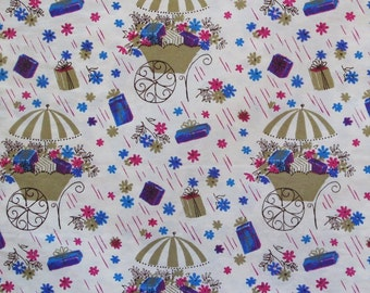 Vintage SHOWER Gift Wrap - Wrapping Paper - Flower Carts and Gifts - 1950s