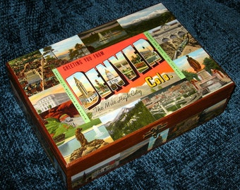 DENVER CO travel postcard decoupage cigar box