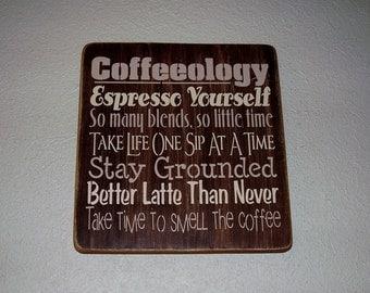 Wood Sign, Coffeeology, Coffee Word Art, Handmade Sign, Word Art, Kitchen Decor, Coffee Decor