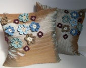 Cushion / pillow cover in taffeta with handmade crochet flowers - now on SALE