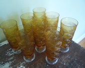 Vintage Set of 8 Amber Stem Glasses, Thanksgiving table, fall decorating, holiday party