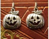 Jack-o-lantern Antiqued Silver Colored Dangle Earrings by Watto's Wife / FREE US Shipping / Pumpkin Earrings / Halloween Earrings / Pumpkins