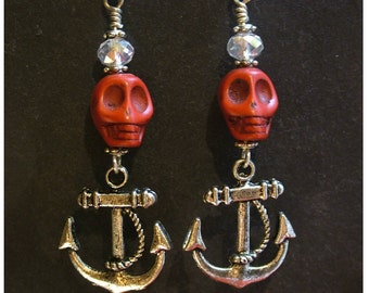 Red Skull Earrings/Rockabilly Red Skulls with Silver Anchors Dangle Earrings with Crystals by WATTO's Wife/Anchor Earrings/Nautical Earrings
