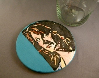 She Sees,  Handcrafted Ceramic Clay Art Coaster, Absorbs Moisture