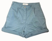 Dusty Green High Waisted Preppy Shorts - Cut or Roll to Make HOTPANTS - Size M