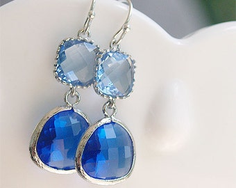 Blue Dangle Earrings in Silver - Cobalt Royal Blue and Light Blue Earrings on Sterling Silver - Gift, Bridesmaids Earrings