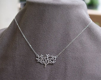 Tree Necklace in Silver - Modern Tree Pendant on 925 Sterling Silver Chain - Nature, Jewelry, Metal Necklace