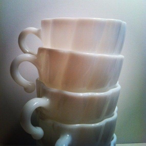 Vintage Milk Glass Teacups