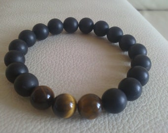 Men's Beaded Bracelet with Matte Black Onyx  and Tiger Eye Beads Fathers day gift
