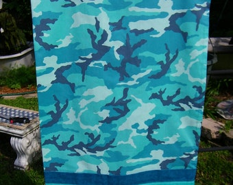 Handmade Pillow Case     Teal Camouflage