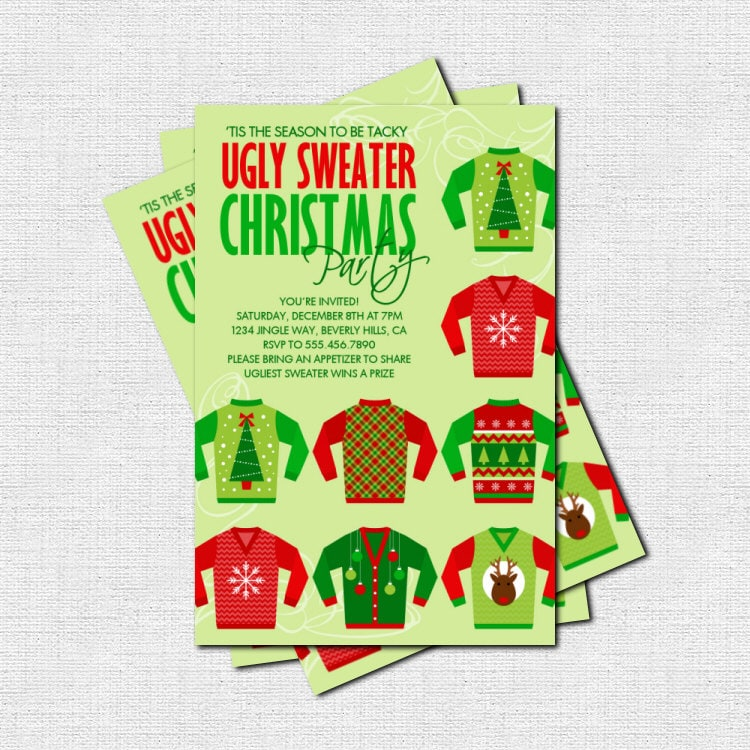 Ugly Christmas Party Sweaters: UGLY SWEATER Christmas Party INVITATION Print Your By