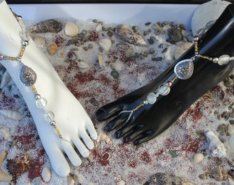 Barefoot Sandals - Silver, White and Pearl