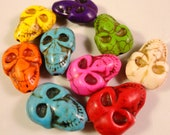 Multicolor Skull Beads 22x13mm Howlite Gemstone Skull Beads (Dyed) on a 7 1/2 Inch Strand with 9 Beads