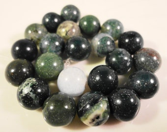 Moss Agate Beads 8mm Round Natural Green Gemstone Beads, Green Natural Stone Beads for Jewelry Making on a 7 1/2 Inch Strand with 24 Beads