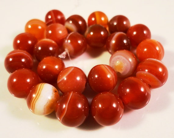 "15"" Strand Carnelian Agate Gemstone Beads 8mm Round Orange Striped Agate Stone Beads for Jewelry Making on a Full 15"" Strand with 47 Beads"