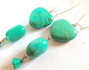 turquoise howlite earrings. hearts and flowers silver dangle earrings.