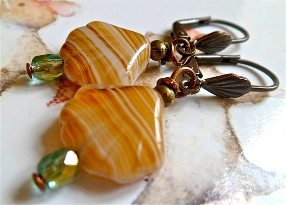 clamshell earrings. caramel earrings beach jewellery.