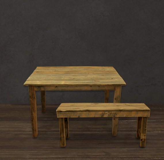 Farmhouse Table & Bench by AtlasWoodCo on Etsy