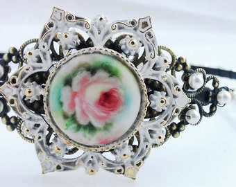 VICTORIAN-INSPIRED Wedding Bridal Headdress, Vintage 40s Porcelain, Brass Filigree Headband, Swarovski Pearls & Crystals