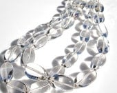 Dramatic Statement Necklace Clear Crystal Quartz Polished Ovals Double Strand with Solid Sterling Silver