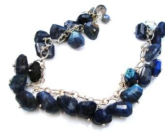 Gorgeous Electric Labradorite Bracelet Ultraviolet Nuggets on Sterling Silver