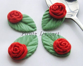 RED  Garden Rose sugar flower - Fondant Roses with leaves  - Edible cake decorations (Red Rose) (12 pieces)