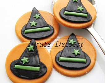 Edible Halloween cupcake toppers - Witches Hats - Fondant cake decorations  Halloween cupcakes  (6 pieces)