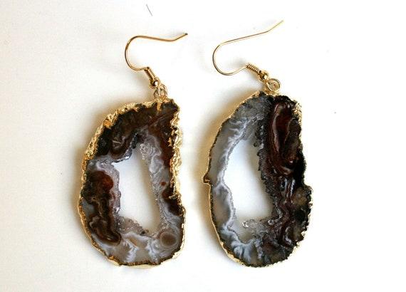 Geode Druzy Earrings. Cafe Latte Swirls