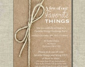 Gift Exchange//Favorite Things Party Invite//Brown Paper Packages// Printable Invitation//Digital File