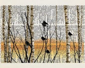 Autumn Sunset... Vintage Dictionary Print Art Page, Collage, Wall Art, Home Decor, 8x10