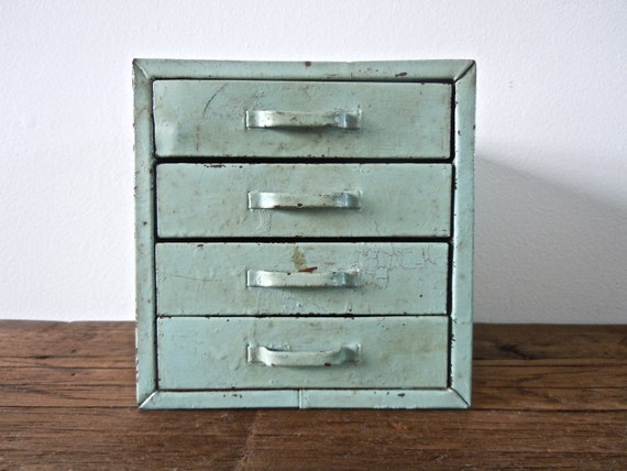 rare mint green industrial metal box with drawers // desk organizer // jewelry box