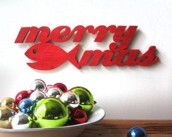 Merry Fishmas, Christmas decoration, fish, beach, coastal, wood word sign, beach cottage, shabby chic