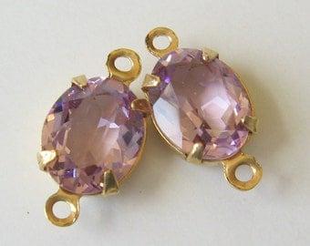 2 Light Amethyst Lavender Swarovski Oval Crystals Set in Brass Connector 10x8 mm