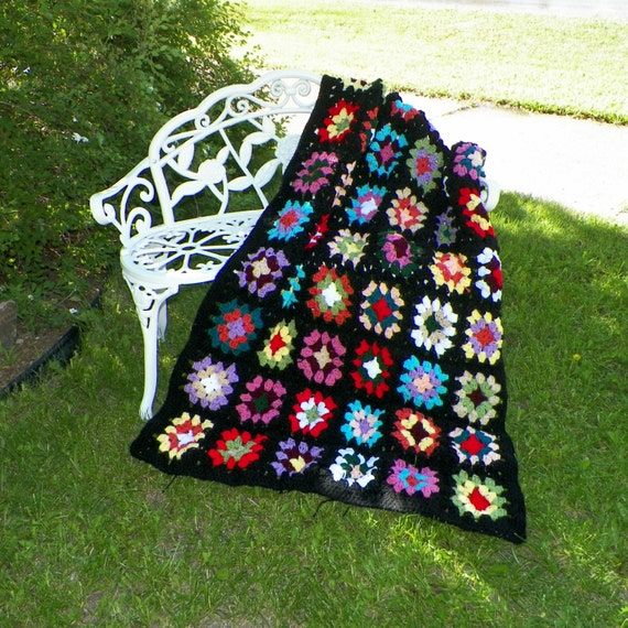Traditional  Granny Square Crochet  Afghan Retro Vintage Inspired Throw Blanket Lap
