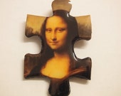 Da Vinci Puzzle Brooch - Mona Lisa 2, wooden puzzle, decorative brooch, Leonardo Da Vinci