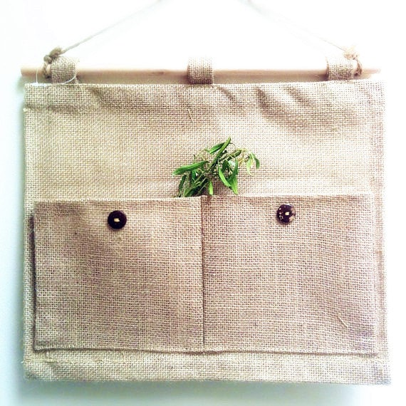 SALE--- Natural Style Hemp Hanging Storage Bags / Debris Bags/ Organizer Bag, 2 pocket