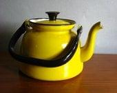 Vintage Yellow Enamel Teapot