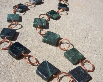 Green Marble and Copper Necklace
