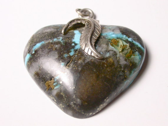 Reserved Heart Turquoise and Pyrite on Matrix Stone Pendant