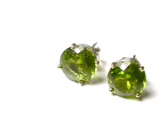 Reserved 14k White Gold Peridot Earrings