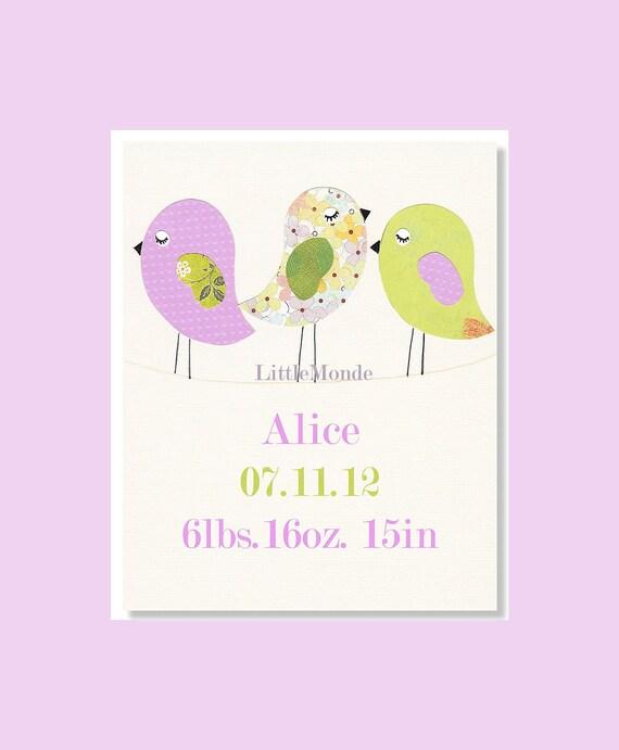 Birth Date Nursery Print, Personalized Nursery Print, Baby Girl Nursery Art, NURSERY ART PRINT, 8x10 Print, Purple Nursery Art Print