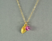 Vermeil Leaf Charm and SWAROVSKI Crystal Bead Necklace, Birthstone, 14K Gold Fill Chain, Beautiful Necklace