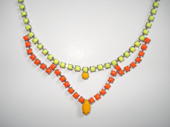 Designer Inspired Neon Hand Painted Vintage Rhinestone Necklace