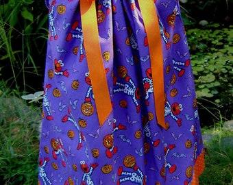 Boutique pillowcase dress featuring Elmo in a skelton costume: FA008