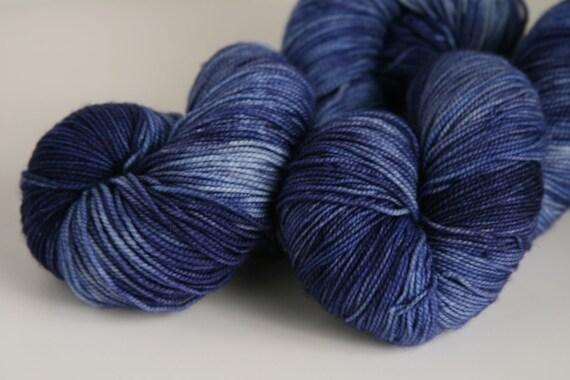 """Handpainted 100% Superwash Merino Sock Yarn """"Night Sky"""" -- Granite Sock"""