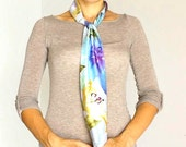 Neck Bow , Ascot Scarf Scarflette  , Light blue Floral  Neck scarf , Women's Fashion accessories , Clothing ,Bow tie , Summer scarf