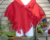 8 to 10 Size   Red Blizzard Fleece Poncho Warmup Narrow Fringe
