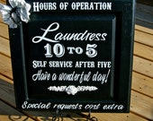 Large Laundry room decor The Laundress hours of operation laundry sign Housewarming gift