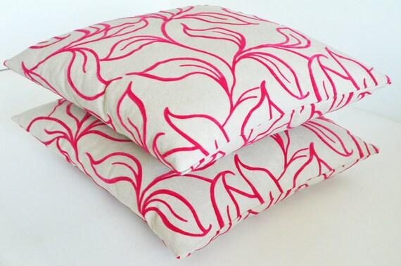 embossed velvet cotton ivory fuchsia hot pink decorative modern patterned flowering home garden bedroom decor 18x18 inches pillows