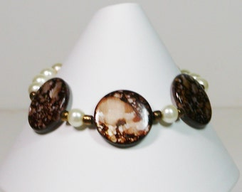 Dyed Coin Mother of Pearl Bracelet with Pearls and Copper Toggle